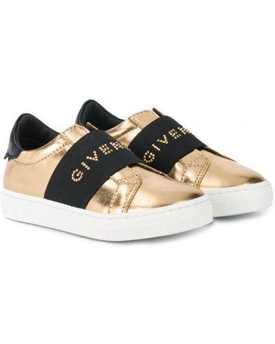 Slipony na pięcie z prawdziwej skóry złoto Givenchy Kids