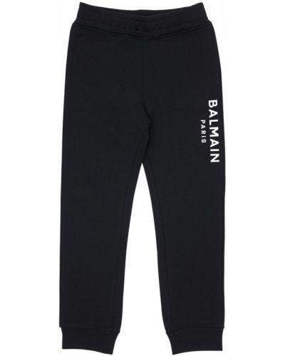 Bawełna czarny joggery z kieszeniami z mankietami Balmain