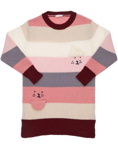 Розовое платье в полоску с аппликациями Il Gufo