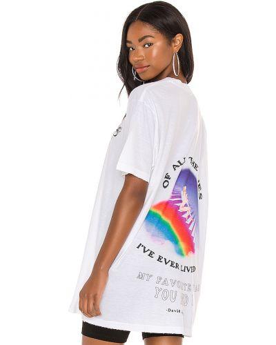 Biały t-shirt bawełniany z printem Boys Lie