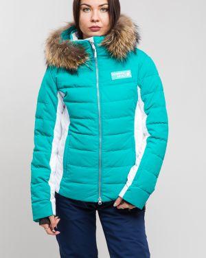 С рукавами зеленая горнолыжная куртка из енота для бега Running River