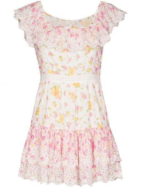 Белое приталенное платье мини с вырезом квадратное Loveshackfancy