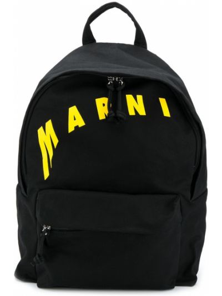 Czarny plecak bawełniany z printem Marni