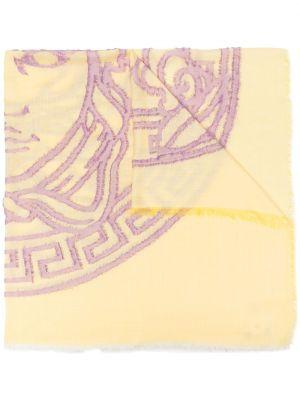 Żółty szalik wełniany z frędzlami Versace