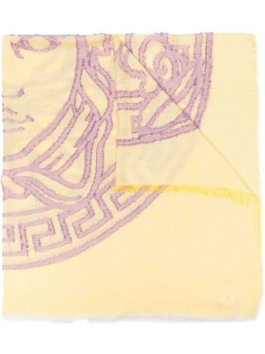 Желтый шелковый шарф с бахромой Versace