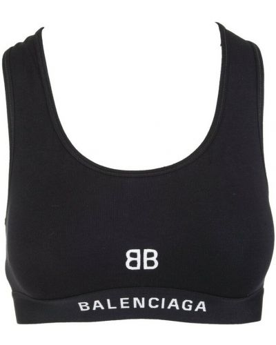 Czarny biustonosz sportowy Balenciaga