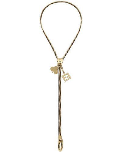 Brelok złoto z zamkiem błyskawicznym Fendi