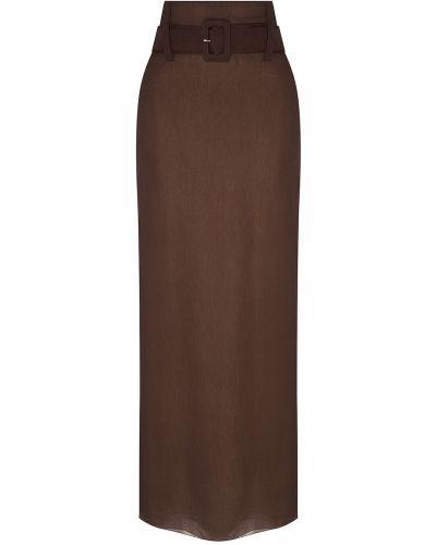 Юбка макси с поясом шелковая Prada