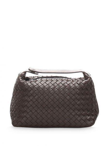 Кожаная золотистая коричневая сумка-тоут с подкладкой Bottega Veneta Pre-owned