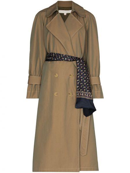 Коричневое длинное пальто двубортное с воротником By Any Other Name