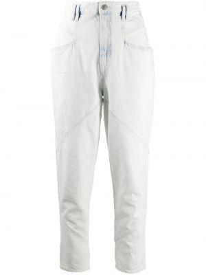 Bawełna niebieski jeansy na wysokości z kieszeniami z łatami Isabel Marant