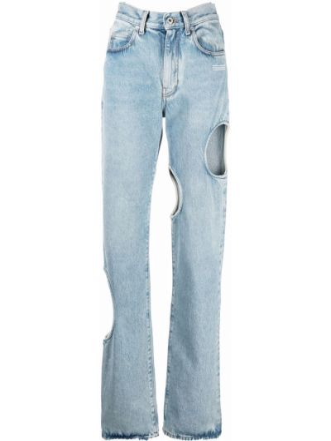 Белые джинсы с карманами Off-white