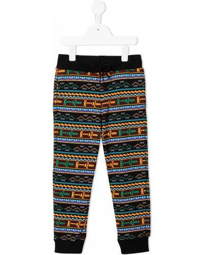 Czarne spodnie w paski bawełniane Kenzo Kids