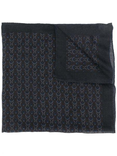 Czarny szalik wełniany z printem Lardini