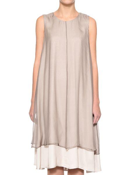 Платье из вискозы - бежевое Peserico