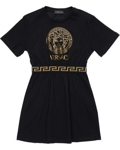Czarna sukienka mini krótki rękaw bawełniana Versace