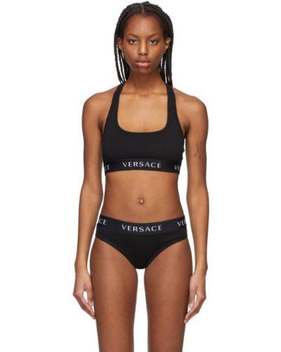 Czarny biustonosz sportowy bawełniany Versace Underwear