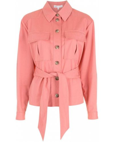 Розовая куртка с воротником с карманами Nk