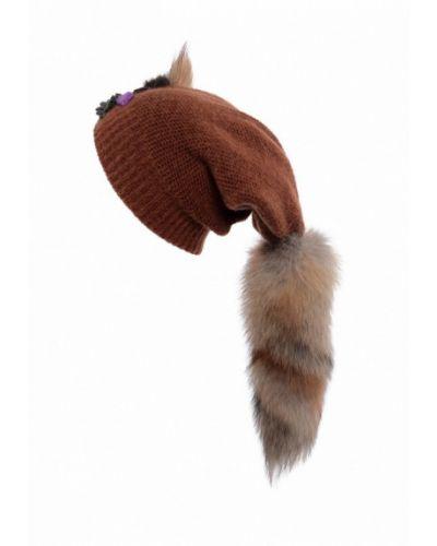 Коричневая шапка с помпоном Lak Miss