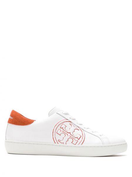 Skórzane sneakersy z logo białe Tory Burch