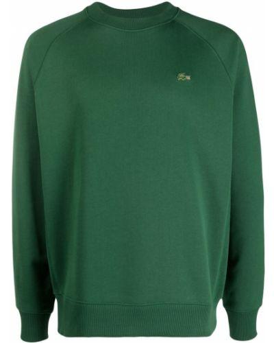 Zielona bluza długa bawełniana z długimi rękawami Lacoste Live