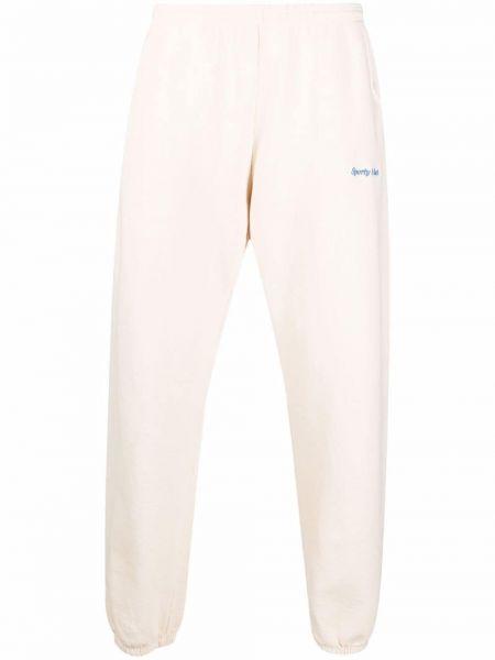 Białe spodnie z haftem Sporty And Rich