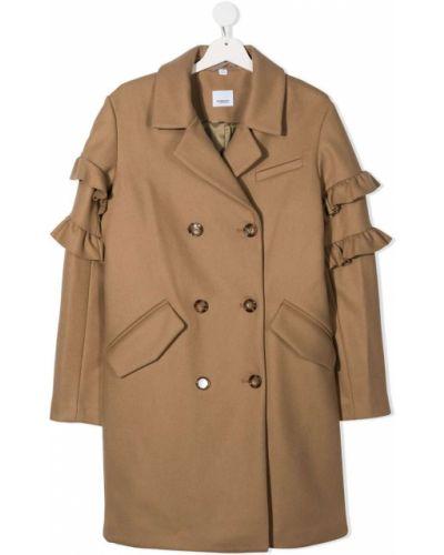 Шерстяное пальто классическое двубортное на пуговицах Burberry Kids