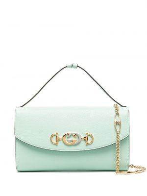 Skórzany srebro torba kosmetyczna z łatami z kieszeniami Gucci