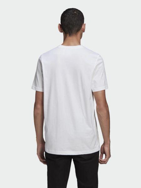 Хлопковая белая футболка с вырезом Adidas