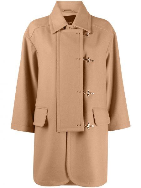 Коричневое пальто оверсайз с воротником из верблюжьей шерсти Fay