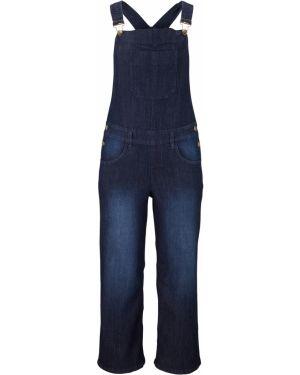 Джинсовый комбинезон с широкими брюками свободный Bonprix