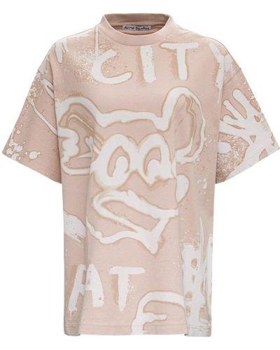 Beżowa T-shirt z nadrukiem z printem Acne Studios