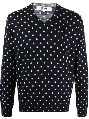 Вязаный шерстяной синий свитер с V-образным вырезом Comme Des GarÇons Play