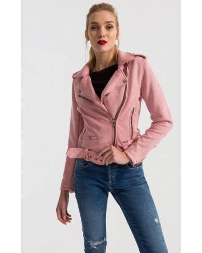 Кожаная куртка весенняя розовая Ltb