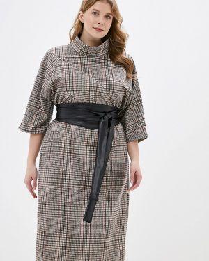 Платье осеннее бежевое Vivostyle