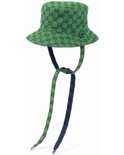 Niebieski kapelusz bawełniany z printem Gucci