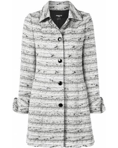 Шерстяное белое пальто классическое с воротником Paule Ka