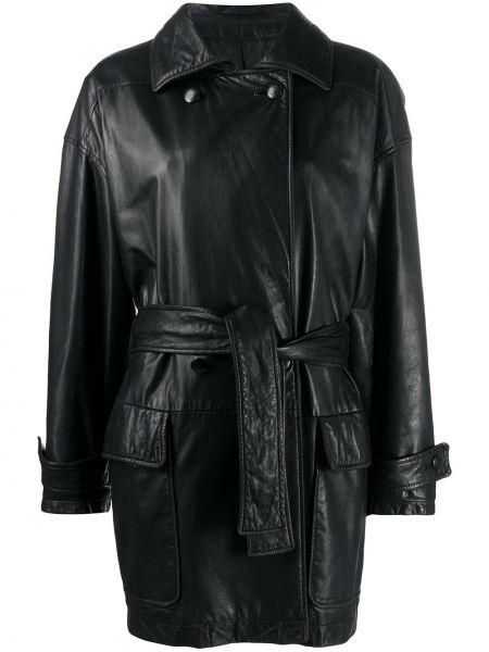 Черный кожаный удлиненный пиджак с поясом A.n.g.e.l.o. Vintage Cult