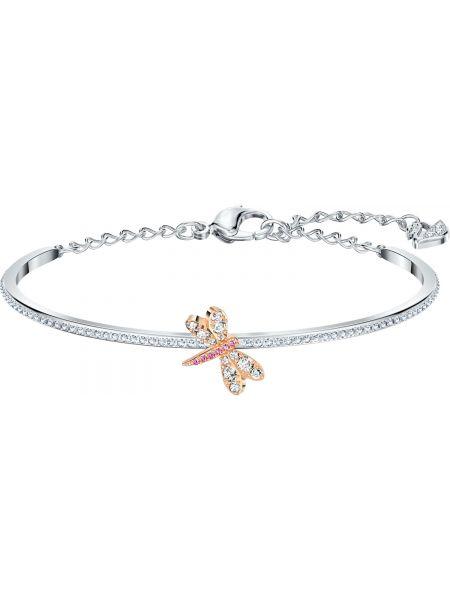 Золотистый розовый золотой браслет с камнями металлический Swarovski