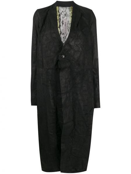 Czarny długi płaszcz z klapami z wiskozy z długimi rękawami Rick Owens