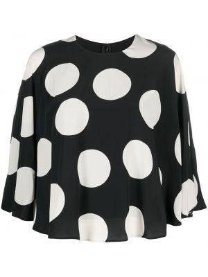 Шелковая белая блузка в горошек Valentino