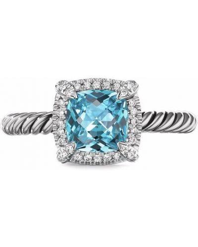 Niebieski pierścionek z diamentem David Yurman