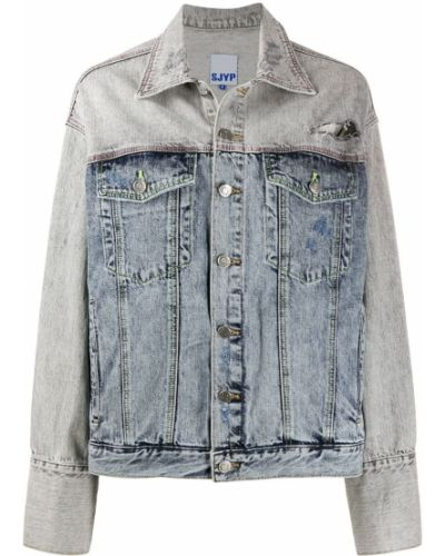Прямая синяя джинсовая куртка с нашивками на пуговицах Sjyp