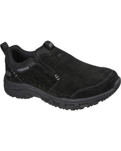 Черные текстильные слипоны Skechers