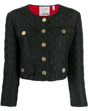 Прямая черная короткая куртка на пуговицах Moschino Pre-owned
