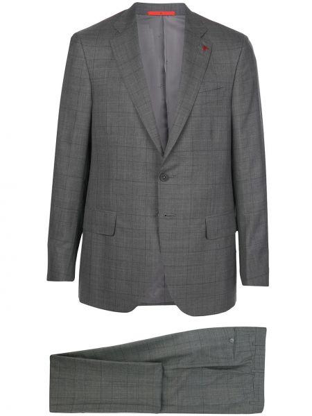 Шелковый костюм - серый Isaia