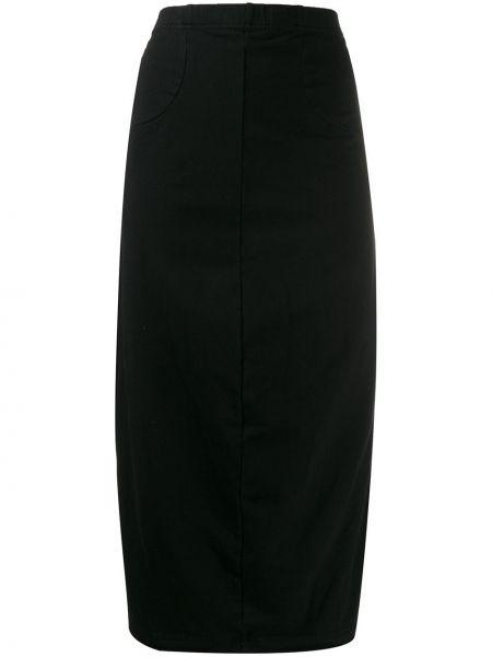 Черная юбка миди на резинке в рубчик Rundholz Black Label