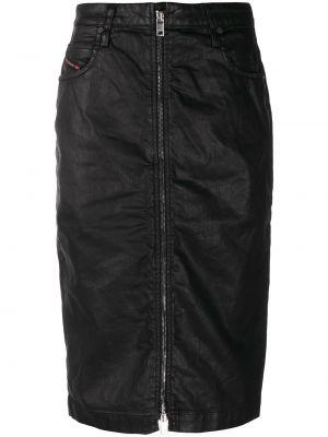 Прямая с завышенной талией кожаная юбка Diesel