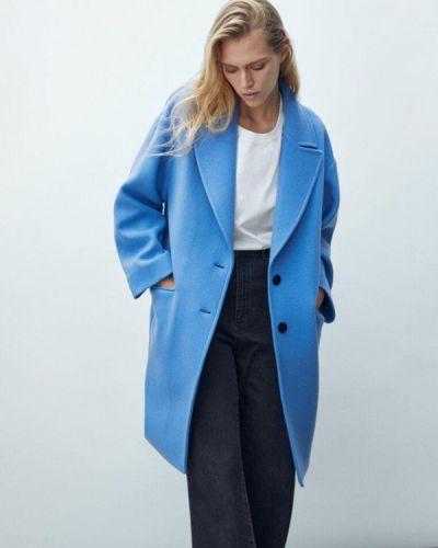 Голубое демисезонное пальто Massimo Dutti