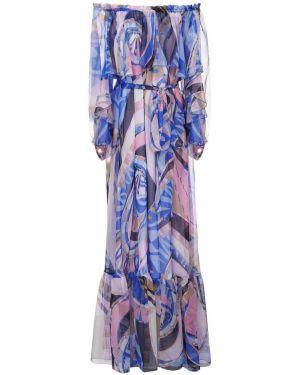 Платье макси через плечо с поясом Emilio Pucci